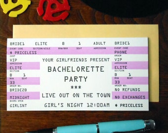 letterpress bachelorette rock concert ticket greeting card bachelorette party pink black white