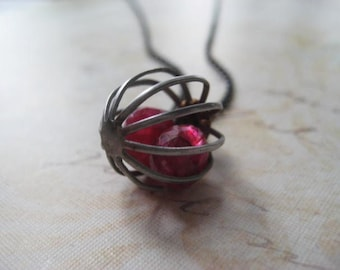 Ruby Necklace, Moonstone Ruby, Vintage Metal Cage, Sterling Silver, Moonstone Ruby Beads, Red Ruby Stones, Caged Necklace, Womens Jewelry