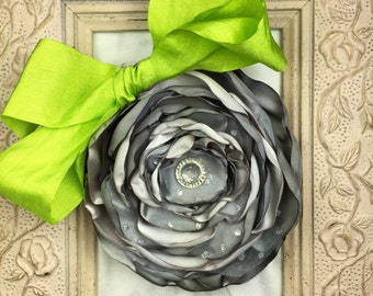 Satin Grey Hair Flower Clip, Bright Lime Green Ribbon, Sparkle, Tulle and Satin, Layered, Dance, Flower Girl, Photo Prop Hair Flower