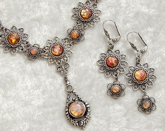Opal Opulence- Harlequin Art Glass Fire Opal Vintage Style Antiqued Silver Necklace and Earrings (NE-039)