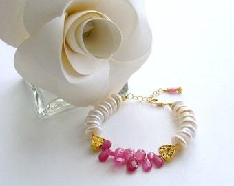 Pink Sapphire Coin Pearl Filigree Heart Bracelet - Valentina II Bracelet