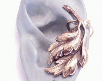 Leaf Ear Cuff - FALLING LEAVES - Handcrafted Brass Ear Wrap