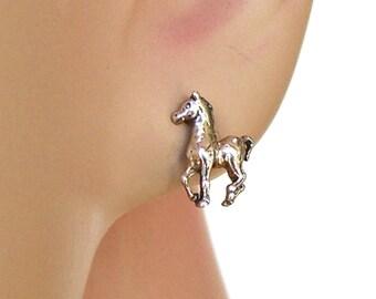 Earrings Horse Colt Sterling Silver Animal Minimal Ear Studs no. 3455