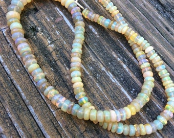 Genuine Yellow Ethiopian Opal necklace - handmade designer unique peace - 3mm opal - Welo opal