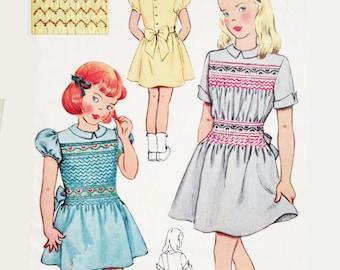 Vintage 40s Sewing Pattern Girls Smocked Dress Size 8 Smocking McCall 1514