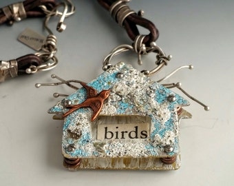 28 Inch Iced Enameled Sterling Silver Birdhouse Necklace