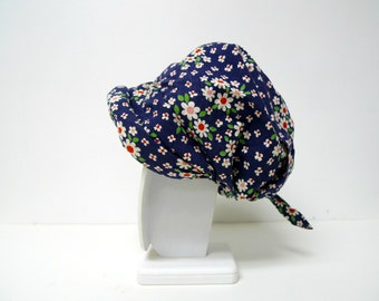 60s 70s vintage Charles Muller of Zurich floral print cotton bonnet / hat
