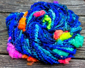 Handspun Art Yarn-School of Fish- Signature WildPlied Artisan Yarn