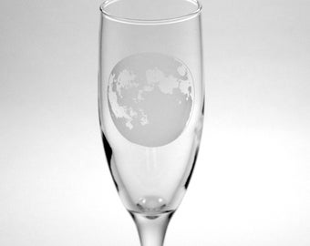 Moon Champagne Flute - etched champagne glass - full moon