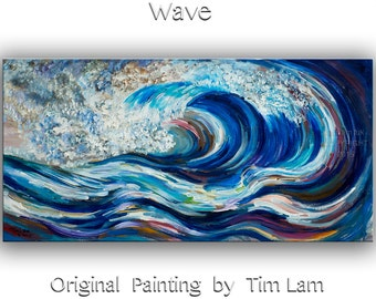 Modern landscape painting wall art Original seascape painting abstract painting large fine art wall decor hanging Blue Rolling Wave 48 X 24