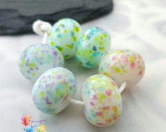 Lampwork Glass Beads Floral Mallow Fritties