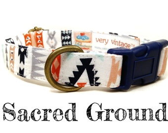 "White Mint Coral Navy Blue Gray Bohemian Southwestern Dog Collar - Organic Cotton - Antique Brass Hardware - ""Sacred Ground"""