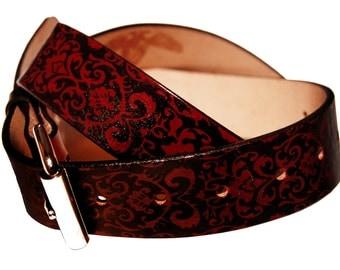 Damask Print Leather Belt