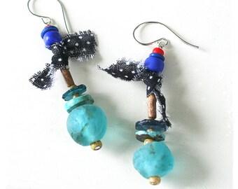 Colorful ethnic earrings, Boho earrings for women, Bohemian tribal earrings, Assemblage earrings, Urban primitive earrings