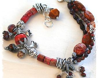 Orange stone bracelet, Flower charm bracelet, Rustic bohemian bracelet, Multistrand bracelet, Handmade jewelry for women, Adjustable fit