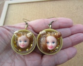 Let Your Hair Down Princess Leia- upcycled doll face earrings