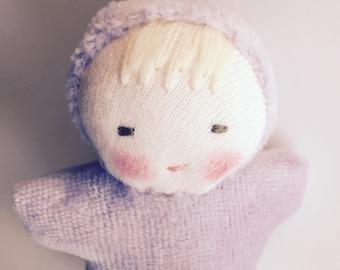 waldorf doll, lavender, pocket doll, germandolls, handmade doll, party favor, gift for kids, natural doll, waldorf toy