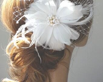 Feather Headpiece, Bridal headpiece, Wedding, Open Bloom, Flower, Fascinator Head Piece