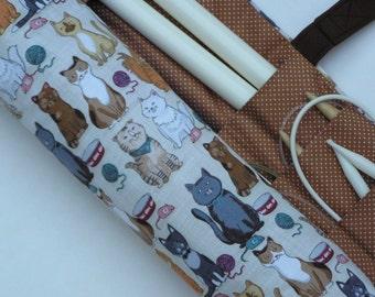 large knitting needle case - knitting needle organizer - cat print - 36 pockets
