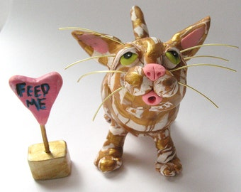 Valentine's Day Cat Sculpture - Orange and Gold Striped Tiger Cat Figurine - Polymer Clay Cat Sculpture - Cat Valentine Gift