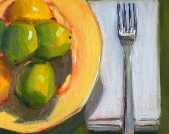 Original Still Life, Oil Painting, Lemon Lime, Kitchen Wall Decor, Green Yellow, Small 8x8 Citrus Fruit, Canvas, Fork Napkin Plate, Food