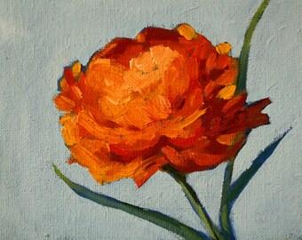 Still Life Floral Painting, Original Oil, 5x7 Canvas, Orange Flower, Blue Background, Small Wall Decor, Romantic Kitchen Art, Minimalist