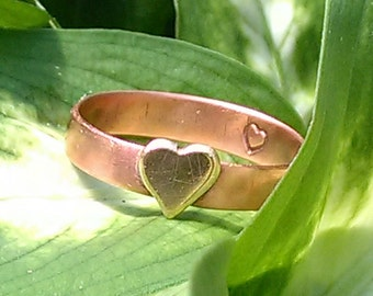 Copper Ring with Brass Heart Size 8 1/4