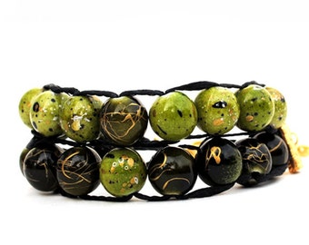 Green and Green with gold clasp - Ablet Knitting Abacus - Row Counter bracelet