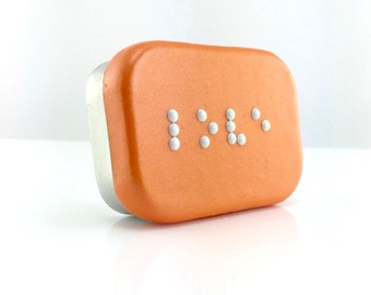 Love Braille Box - Braille Jewelry Box - Handmade Treasure Box - Orange Trinket Box - Ready to Ship #10