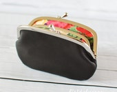 Women's Black Leather Frame Wallet with Divider Liberty of London Rose 2 Section