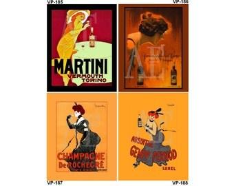 VP185-188 Vintage Poster Art - One 8x10 or Two 5x7s - Cocktails, Martini Vermouth Torino, Ferdinando Dal Corno, Cappiello Champagne Pernod