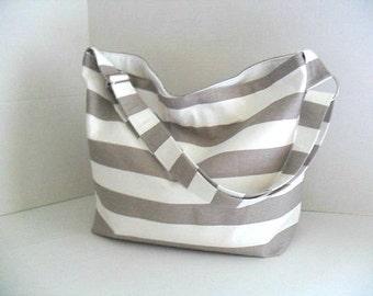 Stripe Messenger Bag - Cross Body -  Diaper Bag - Hobo Bag - Ecru and White Stripe