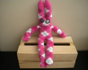 sock monster pink argyle