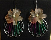 Spring is coming earrings Acrylic flower and multi-color drop weave hoops