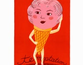 "11 x 14 Screenprint ""Temptation"" // ice cream / kitchen art / food art / food print / foodie gift / sexy / pink / red / humorous art"