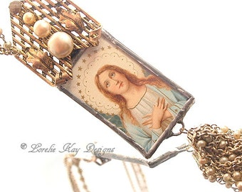 Virgin Mary Necklace  Assemblage Pendant Soldered Glass Religious Theme Pendant