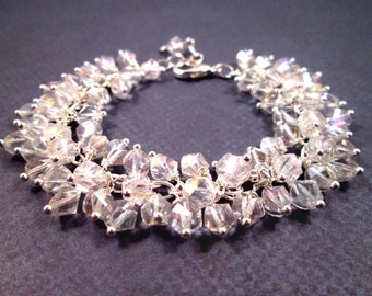 White Luster Glass Bracelet, Cha Cha Style Bracelet, Wire Wrapped Silver Charm Bracelet, FREE Shipping U.S.