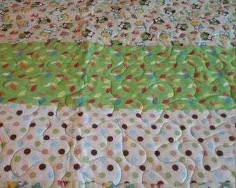 Modern Owl Baby Quilt Pokedots flannel 42 x 49