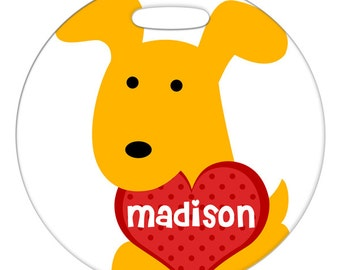 Luggage Tag - Yellow Dog with Custom Name Heart - Round Plastic Bag ID Tag