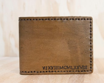 Mens Wallet - Custom Leather Bifold Wallet - Numbers Pattern in Antique Brown
