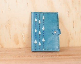 Leather Photo Album or Brag Book - Rain pattern with raindrops in blue - Handmade custom photo album - grandparent gift