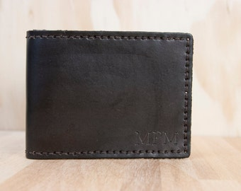 Mens Custom Leather Wallet - Monogram Bifold wallet in Chocolate Brown - Third Anniversary Gift - Personalized