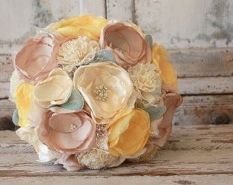 Pale yellow wedding bouquet, sola bloom and fabric flower bridal bouquet, pale yellow, champagne and cream ivory alternative bouquet