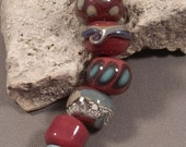 Handmade Lampwork Beads by Monaslampwork - Fall Color with a Touch of Blue - Lampwork Glass Beads by Mona Sullivan Organic Tribal Boho Gypsy