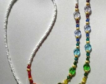 SWAROVSKI Crystal Elements Rainbow Discs EYEGLASS CHAIN Silver Holder