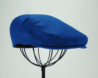 Custom Jeff Cap Handmade Flat Cap Driving Cap for Men in Dusk Blue Silk Matka - Raw Silk