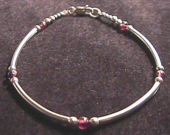 "Garnet and Sterling Silver Tube Bracelet 6.5"" - 8"" Inch Length"