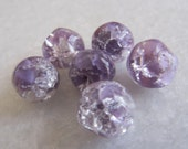 Vintage Beads West German Lilac and Crystal Givre Crackle Glass Beads - Lot of 6