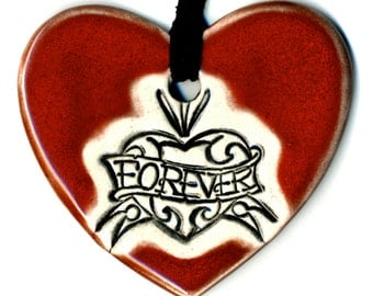 Love Forever Heart Ceramic Necklace in Red