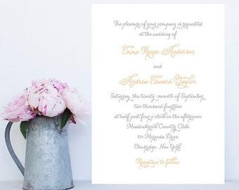 Traditional Wedding Invitations - Simple, Fancy Wedding Invitation - Peach and Gray Invitation